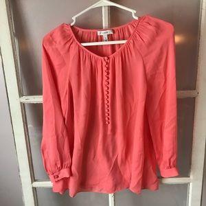 J Crew pink button down long sleeve silk blouse